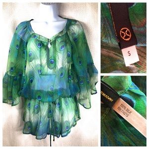 VIX Paula Hermanny Silk Peacock Feather Cover-Up